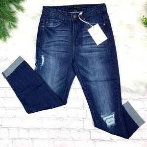 NWT🤩|•KANCAN™•| Dark Wash Raw Cuff Skinny Jean